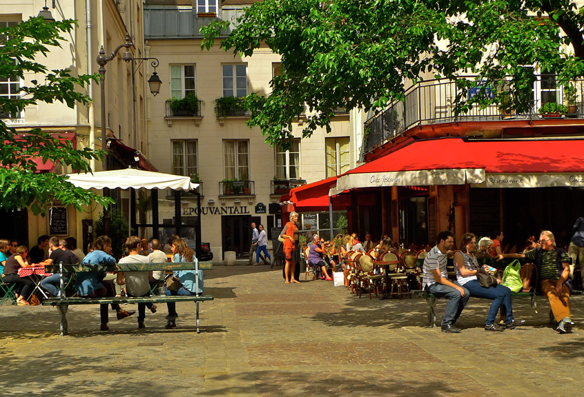 Marché Sainte Catherine aikštė Marais rajone Paryžiuje