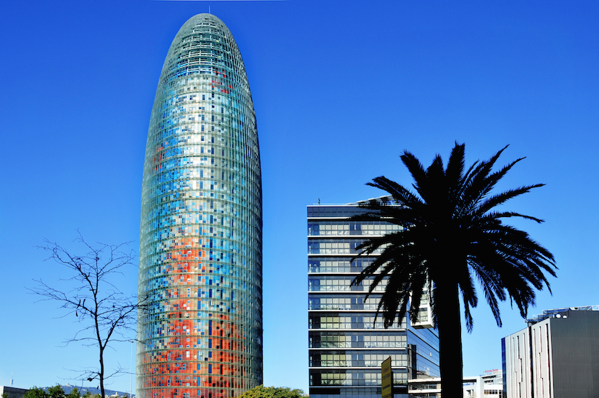 BARCELONA, SPAIN - JANUARY 22: Torre Agbar and Technological District on January 22, 2011 in Barcelo