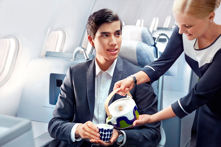 Finnair business man green tea