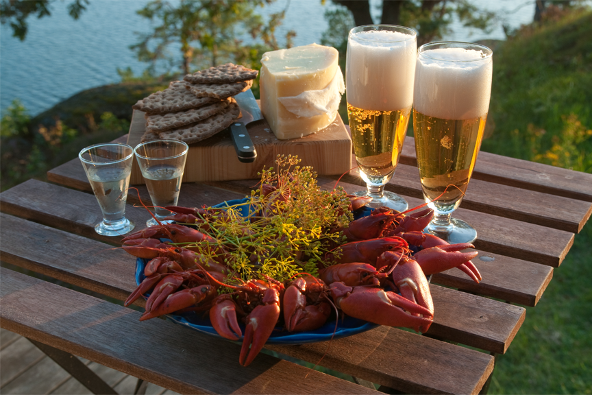 sweden. Crayfish with beer and dill flowers