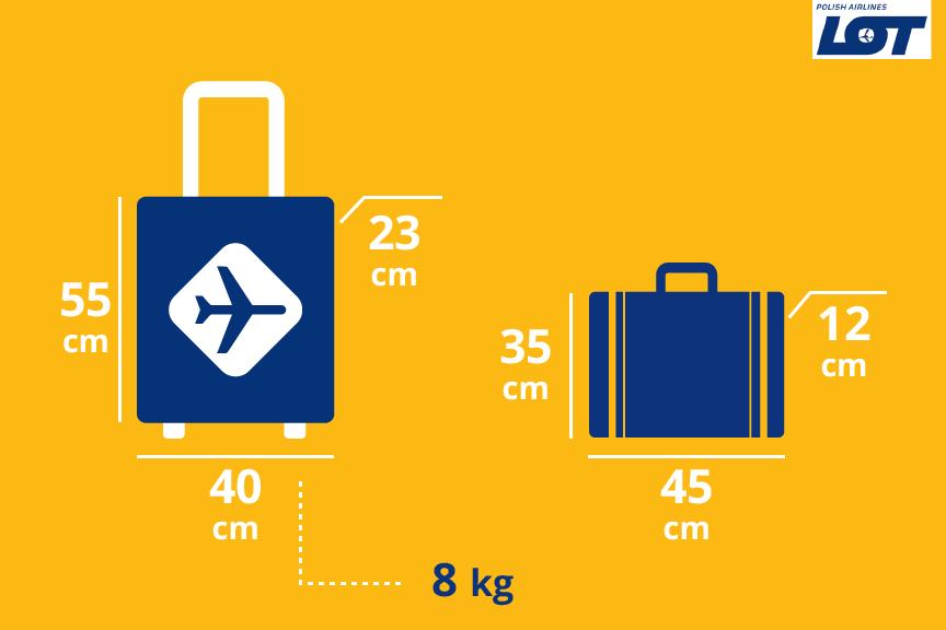 LOT bagažo matmenys