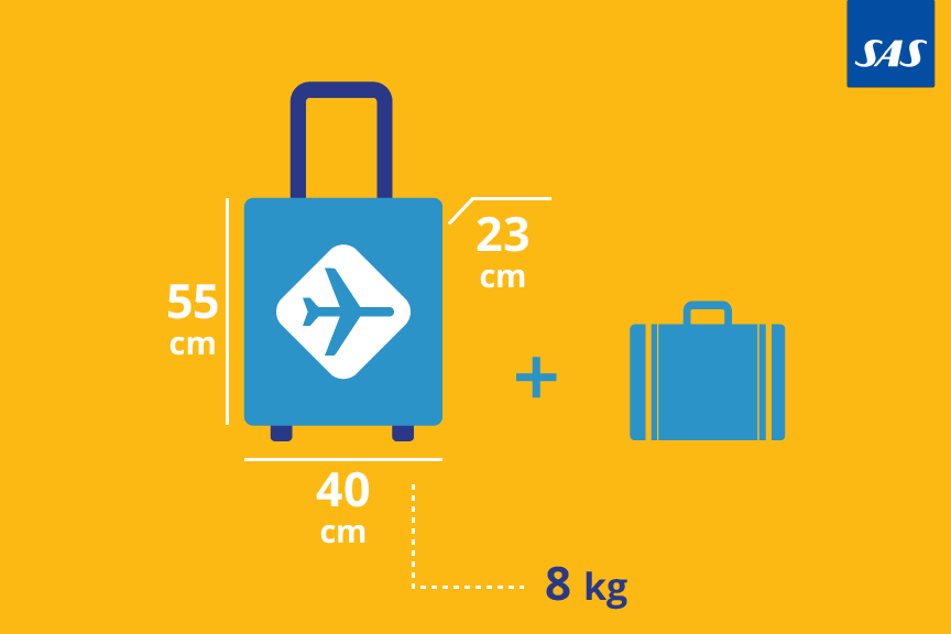 SAS bagažo matmenys