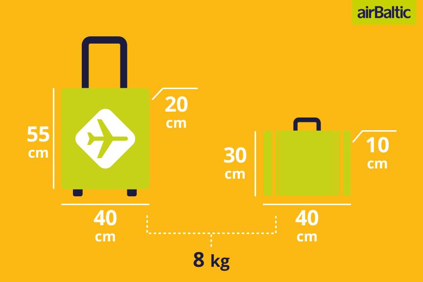airBaltic bagažo matmenys