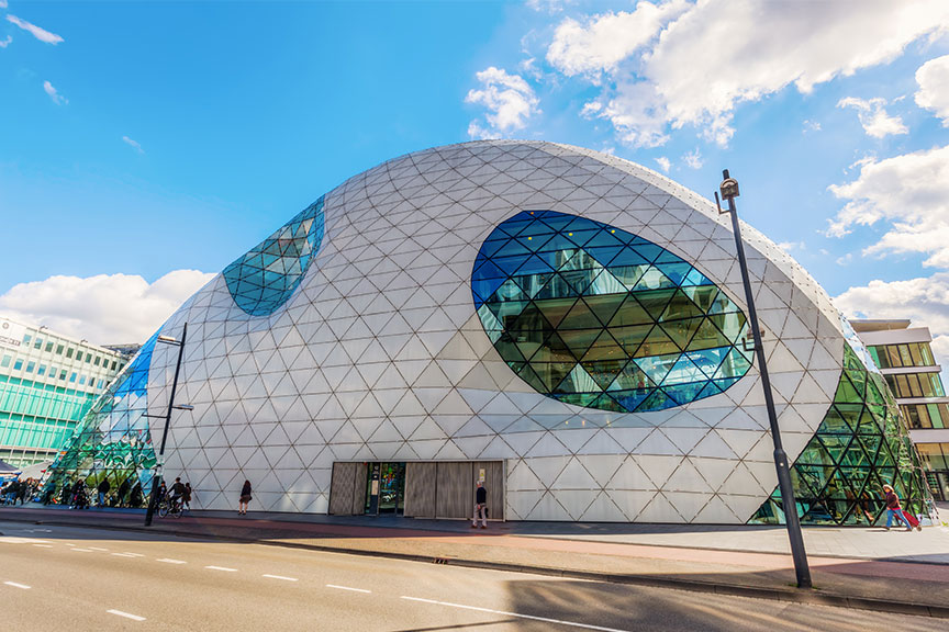 De Blob pastatas Eindhoveno mesto centre