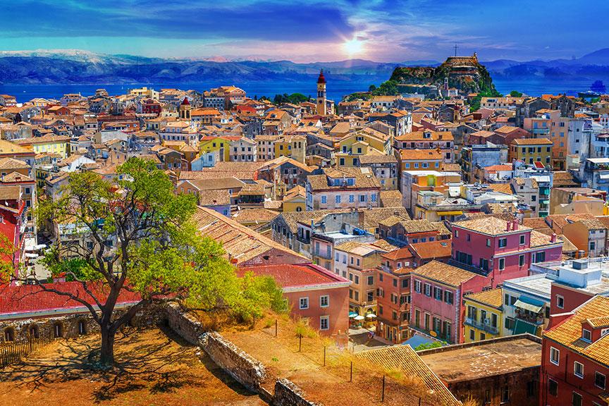 Korfu miestelis Graikija