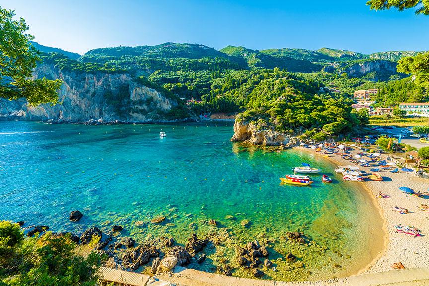 Paleokastritsa paplūdimys Korfu sala
