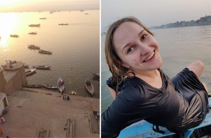 Mergina išsimaudžiusi Gango upėje