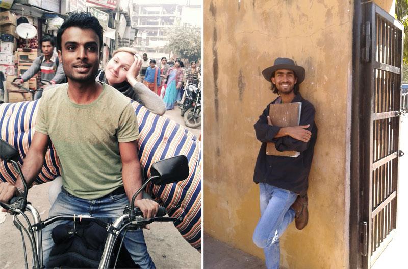 Mergina su motorolerio vairuotoju Indijoje ir simpatiškas studentas
