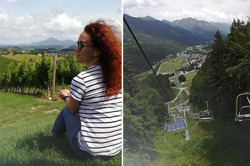 Mergina Slovėnijos vynuogynuose