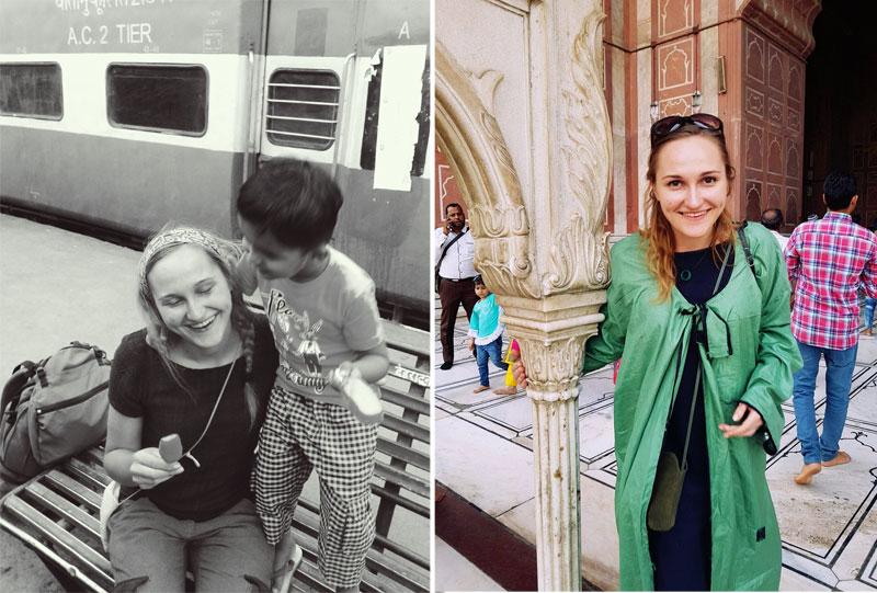 Mergina su mažu indu vaiku ir prie šventyklos Indijoje