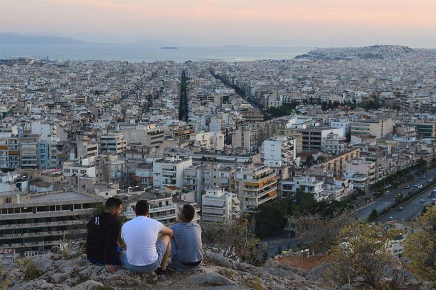 Stambulo panorama, Turkija, vaikinai
