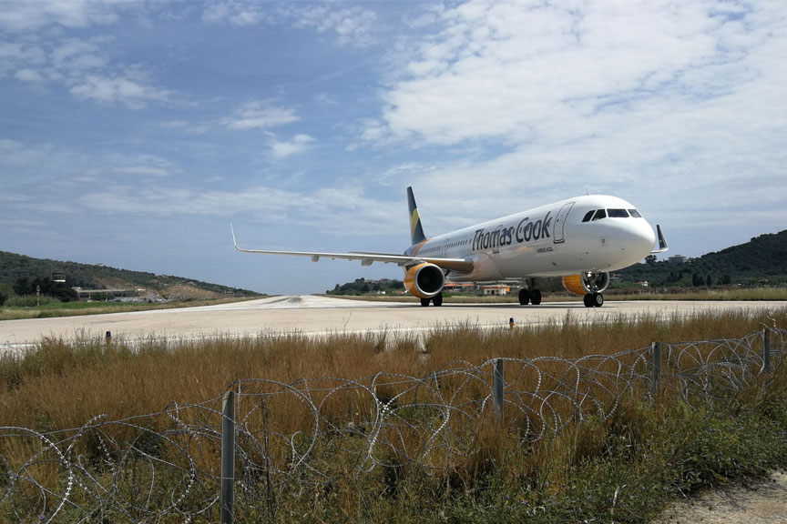 Lėktuvų stebėjimas, plane spotting, Skiathos sala
