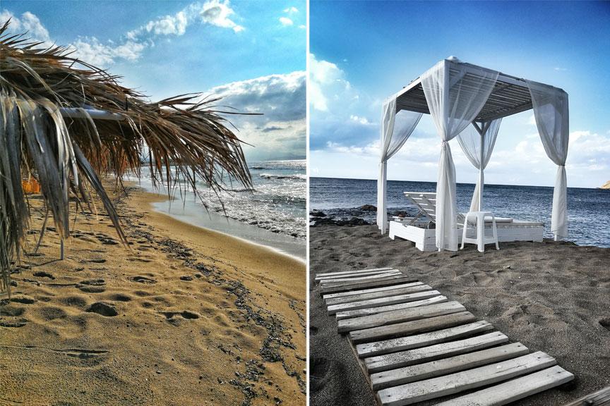 Paplūdimys, jūta, gultai po stogu