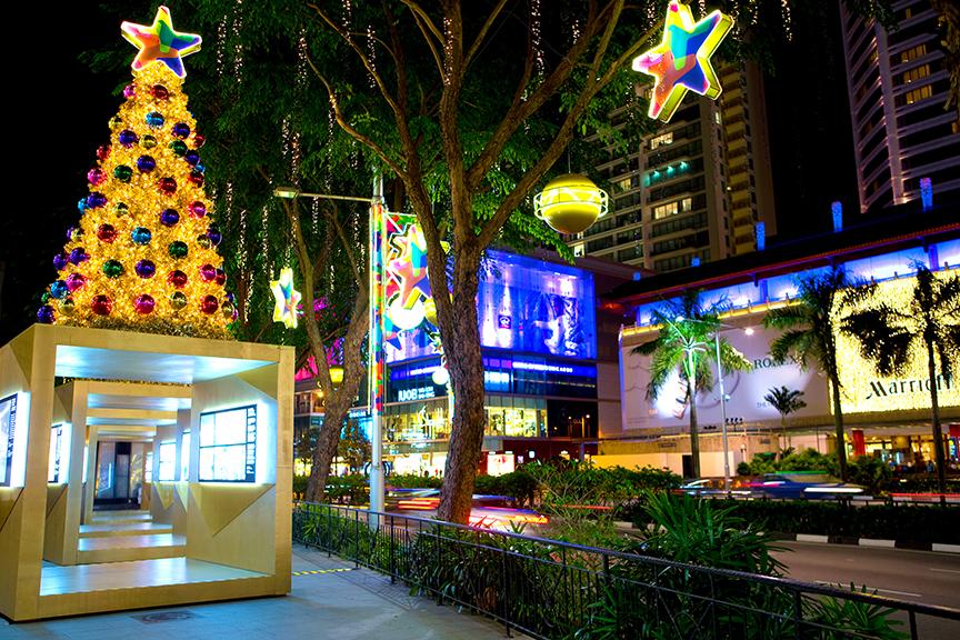 Singapūras, kalėdiškai papuoštas miestas