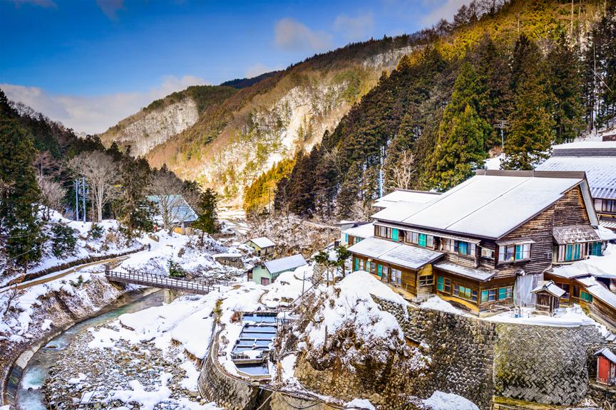 Nagano, Japonija, namai, snieguoti kalnai